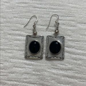 Square sterling silver with onyx dangling earrings